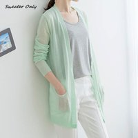 Wholesale new hot sale women s spring summer long sleeve candy color knit cardigans woman female Air conditioning cardigan sweaters