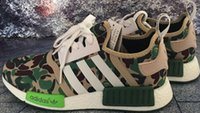Wholesale HOT NMD Runner R1 Green Camo Triple White Men Women superstars Running Shoes Originals Fashion NMD Runner Athletic ultra boost Shoes