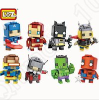 Wholesale Avengers Building Blocks LOZ Mini Toys Captain America Batman Spider Man Iron Man Small Particle Blocks Kids Christmas Gift styles OOA869