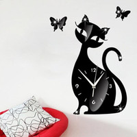 Wholesale Cute Cartoon DIY Black Cat Mute Ultrathin Mirror Wall Clock cm Wall Sticker Poster for Bedroom Drawing room Home Decoration