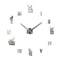 Wholesale hot sale wall clock acrylic mirror roman cat large clocks quartz watch large living room decorative europe