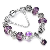 Wholesale European Silver Bracelet Strand Allow Silver Plated Bead With Purple Crystal Charm Bracelet Women Jewelry AA108