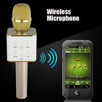 Wholesale Mini Wireless Microphone Q7 Home ktv karaoke player handheld bluetooth speaker stereo Support USB Stick iphone IOS Android Smartphone music