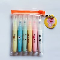 Wholesale R02 Set of Cute Lovely Animals Mini Highlighter Paint Marker Pen Drawing Liquid Chalk Stationery School Office Supply