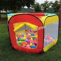 Tent as pic Polyester Wholesale-Multifunction Kids Play House Indoor Outdoor Easy Folding Tent Ocean Ball Pool Beach Lawn Tent Kids Baby Game Tent with window