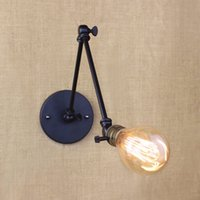 Clear Glass arms small - light bulb long arm switch wall lamp warehouse loft American country retro industry Vintage iron Small Wall Lamps