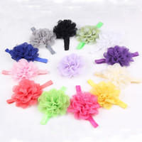Headbands Chemical Fiber Floral baby Headwear Head Flower Hair Accessories Chiffon flower with soft Elastic crochet headbands stretchy hair band