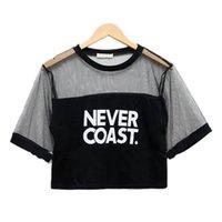 Wholesale New Sexy Women Girls Loose Crop Top T Shirt Crew Neck See through Gauze Tops