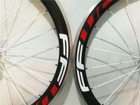 al hub - Carbon fiber mm Road bike white decals carbon wheels bicycle carbon wheelset with R13 R36 Al alloy brake hubs