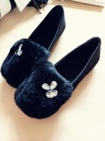 Wholesale 2016 Autumn and winter black suede plus velvet warmth with women s rabbit fur hair shallow round mouth plush flat shoes