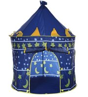 Wholesale 2 Colors Play Tent Portable Foldable Tipi Prince Folding Tent Children Boy Castle Cubby Play House Kids Gifts Outdoor Toy Tents