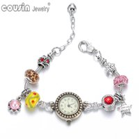 beaded wrist watch - New Model Cols wrist band Quartz Clock Beaded snake chain vine style Charm bracelet wrist watch For women Dress Randomly delivery