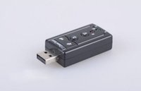Wholesale Sound Cards for sale Channel USB D External Audio Sound Card Adapter with a microphone hole Looks like a flash drive black shell