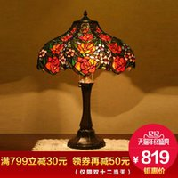 bedroom end tables - Creative high end gift European classical wedding wedding room red rose romantic warm living room bedroom bedside table lamp