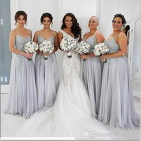 Wholesale 2017 New Cheap Sweetheart Silver Bridesmaid Dresses Lace Appliques Sleeveless Custom Floor Length For Wedding Side Split Maid of Honor Gowns
