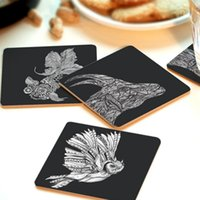 Wholesale Hot Selling Creative Square Wooden Coasters Heat Pad heat Insulation Pads Circular Pattern V3205
