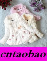 Wholesale MOQ Baby Kids Girls Faux Fur Fleece Party Coat Winter pearl pendant coats Warm Jacket Xmas Snowsuit Colors options
