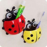 Wholesale 2016 Cute Ladybug Cartoon Sucker Toothbrush Holder Suction Hooks Household Items Toothbrush Rack Bathroom Set