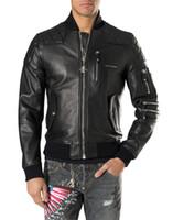 al por mayor la chaqueta de cuero de marca hombre delgado-Top Moda Europa Marca Moda Desinger Faux cuero punk chaqueta marca PF41 Coats PU cuero Slim fit deportivo estilo hombres chaqueta M-3XL