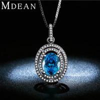 Wholesale 14k White gold plated Necklace Pendants for Women Luxury Sapphire AAA Zircon Engagement Wedding Jewelry kAMSN008