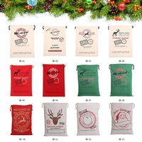 Wholesale 2016 Christmas large canvas santa claus drawstring cloth bag with reindeers monogramable gifts sack cotton bags