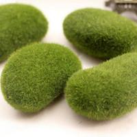 achat en gros de vases à fleurs vertes-100pcs Mousse 5cm Artificielle Moss Rocks Décoration de meubles de maison de mariage pour Bonsai Vase fleur vert FL5203