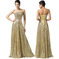 Wholesale 2017 Vestidos Long Shining Sequins Strapless Bridesmaid Dresses Sexy Sleeveless Golden Formal Prom Party Gowns Sizes US2 US16 CL6103