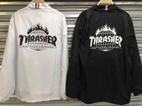 Wholesale 2017 Thrasher jacket Men Women summer Spring Skateboards Windbreaker Sunscreen Jackets hip hop trasher high quality jacket