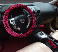 Wholesale Universal cm Leopard Auto Car Steering Wheel Covers with Handbrake cover and car Automatic Covers for lady women