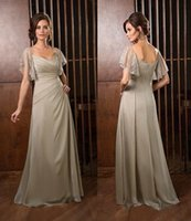 Wholesale Flutter Short Sleeves Mother Of The Bride Dresses Square Neck Zipper Back Ruched Evening Dresses Floor Length Chiffon Evening Gowns