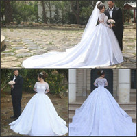 Wholesale Cathedral Train Long Sleeve Ball Gown Wedding Dresses Off The Shoulder Vintage Lace Arabic Dubai Vestido De Novia