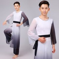 belly dancer pants - Men Dancing Costume Chinese Natioanal Dancer Wear Top pants Chinese Folk Costume Male Stage Performance dance Clothing