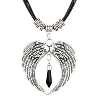 Wholesale 2016 New Arrival Hot Selling National Female Models Retro Thai Silver Necklace Double Wings Heart shaped Silver Wax Drops