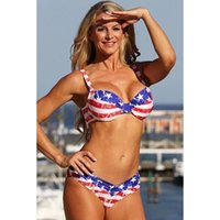 Wholesale OEM ODM Factory Low Waist Two Pieces Bikini Set Comfortable Pretty Female Star Flag Swimsuits American and European Style Beathingwear