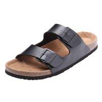 Wholesale New Men s Cork Slides Summer Male Flat Sandals Solid Flip Flops Slippers Casual Shoes