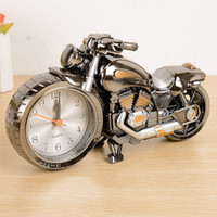 Wholesale Creative Quality Motorcycle Clock Motorbike Pattern Alarm Desk Clocks Vintage Desktop Watches Xmas Christmas Festival Decor Gift
