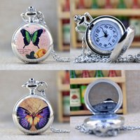 beautiful mens watch - Fashion Silver Beautiful Butterfly Mirror Case Quartz Pocket Watch Analog Pendant Necklace Mens Womens Gifts P355
