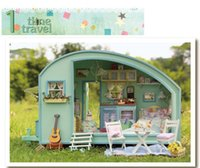 Wholesale DIY Doll House Wooden Doll Houses Miniature dollhouse Furniture Kit Toys for children Gift Time travel doll houses