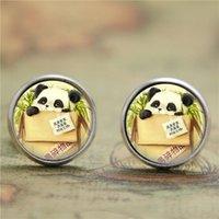 asian art prints - 10pairs Baby Panda earring Panda Bear Animal Jewelry Asian Wildlife Art earring Bear print glass earring