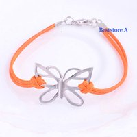 Wholesale Lovely Butterfly Bracelet Simple Leather rope Silver Butterfly Charm Bracelet for Women Girl Alloy Bangle Fashion Jewelry