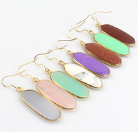 Wholesale Geometric Kendra Stone Earrings Natural Crystal Scott Chandelier Earring Various Colors Tonal Popular for Lady Simple