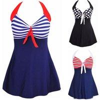 Além de roupas de banho de moda de tamanho Preços-Moda Sexy Stripe Padded Halter saia Swimwear Mulheres One Piece Swimsuit Beachwear Swimwear Bathwear Suit Tamanho Plus