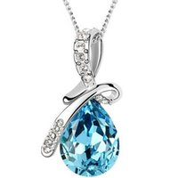 aqua jewellery - 10 Colors Austrian Crystal Necklace Pendants Silver Plated Jewellery Jewerly Necklace Women Fashion Jewelry