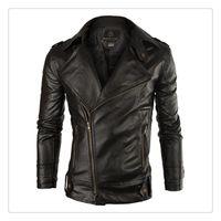 Wholesale Leather Jacket Korean Style Autumn Fashion Lapel Washed PU Men s Casual Pure Color Leather Jackets US Size XS L