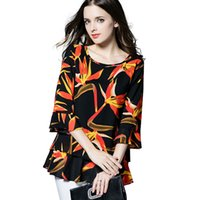 Wholesale New Autumn Chiffon Blouse Women Printed Ruffles Half Sleeve Blouse Black Big Flower Blouses Shirts Female Fashion Shirt XL XL