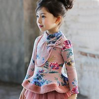 Wholesale 2017 Winter Hot Selling Shitrs Girl s Top Dresses High neck Long Sleeves Printed Flowers Cotton Thick Pretty Girl s SKirt Formal Wear MC0609