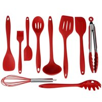 Wholesale 10 Silicone Barbecue Utensils Sets Silicone Brush Cake Scraper Whisk Tong Turner OPP Bag Packaging