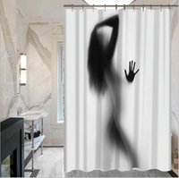 Wholesale 2017 New Black Shadows of People Man and Woman Creative Portrait Polyester Fabric Shower Curtains Water Repellent Fabric Shower Curtain