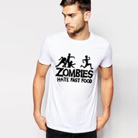 anti wrinkle food - Easy Storm New Summer T Shirt Men Lose Letter Print T Shirt Men Zombies Hate Fast Food White Brand Tees For Male Size S XL
