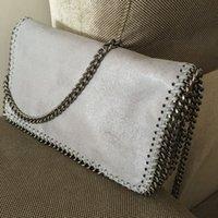 Los 22cm del haspp de los ciervos Falabella de los ciervos del PVC Flaco el bolso crossbody de la cadena del bolsillo de la aleta 2016 señora de lujo gris / negro con el embalaje del dustbag